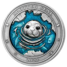 2020 Barbados 3 Ounce Underwater World Spotted Seal Enamel Silver Coin