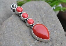 GENUINE RED COREL  925 STERLING SILVER PENDANT WITH GIFT BAG Xmas Mother's Day