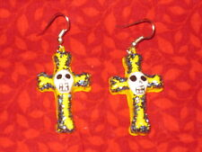 of Dead / Halloween Mexican Folk Art Cross with Skull Earrings Hand Crafted Day