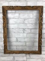 Vintage Carved Wood Handmade Primitive Rustic Picture Frame Holds 20x16""