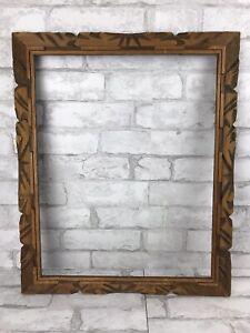 "Vintage Carved Wood Handmade Primitive Rustic Picture Frame Holds 20x16"""