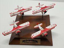 Vtg Red Baron Diecast Stearman Squadron Airplane Display Set Wood Base aircraft