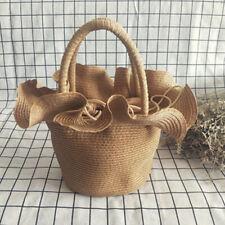 Women's Handbag Bags Ladies Mini Tote Weave Basket shape Ruffled Casual