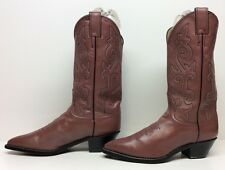 WOMENS JUSTIN COWBOY LEATHER MAUVE BOOTS SIZE 7.5 B