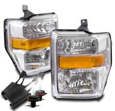 2008-2010 FORD F-250 F-350 SUPER DUTY CHROME CRYSTAL HEADLIGHT LAMP W/50W 8K HID