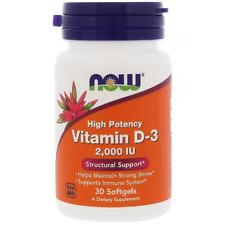 Now Foods, la vitamina D-3 de alta potencia, 50 mcg - 2000 IU - 30 Cápsulas Cápsulas