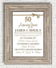 Personalised 50th Anniversary Golden Wedding Present Gift (A4 Print Only)