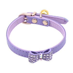 Adjustable PU Leather Small Dog Collar Cat Puppy Bowknot Collar With Bell CB