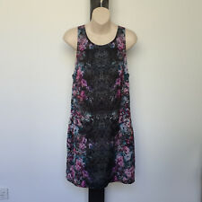 'FOREVER NEW' EC SIZE '12' MULTI FLORAL PRINT SILKY LINED BACK KEYHOLE DRESS