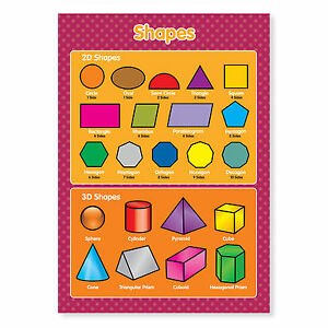 2D and 3D Shapes Geometric Maths Educational Laminated Poster A3