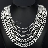 MENS Chain Boy Silver Tone Curb Cuban Link Stainless Steel Necklace CUSTOMIZE Sz