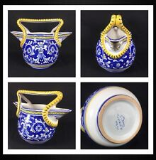 Pre-owned Cama Deruta Antico Hand Painted Vessel Double Side Gravy Pitcher