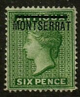 Montserrat stamp #2, used, p.14, wmk. 1, 1876, 4 margins clear of design,SCV $50