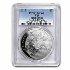 New 2013 Fiji Silver Hawksbill Turtle Taku 1oz First Strike PCGS MS69 Graded