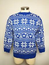 SKYY VODKA Men's Long Sleeve Christmas Ugly Sweater Size M Medium Blue Snowflake