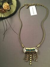 Silpada Neon Fringe Necklace Brass Crystals NWT-Gorgeous!