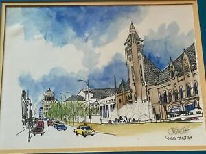Vintage Union Station St. Louis Mixed Media Illustration Wall Hanging Art Signed