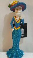 Blue Lady Senorita Skeleton Figurine Day of the Dead Skull Statue Muertos Bride