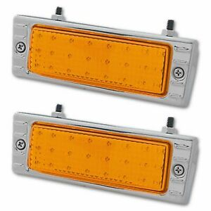 47-53 Chevy Truck LED AMBER Stainless Park Light Turn Signal Lens Assembly PAIR