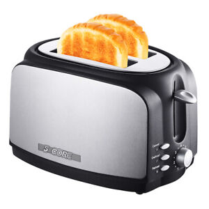 5 Core 2 Slice Extra Wide Centering Long Slot Toaster Stainless Steel Defrost