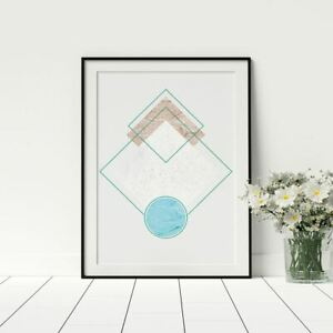 Conceptual Marble Blue Abstract Wall Art Stylish Living Room Wall Hanging Print