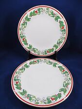 "Lynns  St.  Maria Set Of 2 Dinner Christmas Plates China  10 1/2"" GOLD TRIM EUC"