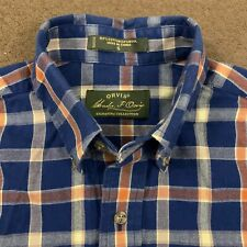 Mens ORVIS Signature Navy Blue Plaid Wool Blend Flannel Shirt Small