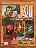 XIII Thirteen 13 PS2 Playstation 2 2003 Vintage Cover-Stock Poster Ad Print Art