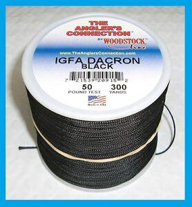 WOODSTOCK BRAIDED DACRON IGFA Fishing Line Black 300 YARDS FREE USA SHIP!