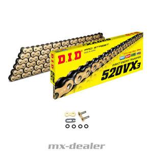 DID 520 VX3 X Ring Kette Gold verstärkt G&B 118 Glieder offen Clipschloß VX-3