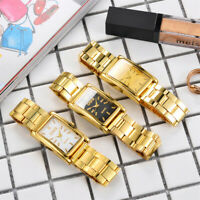 Fashion Men's Gold Rectangle Stainless Steel Analog Quartz Wrist Watch Bracelet