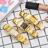 Fashion Men Gold Rectangle Stainless Steel Analog Quartz Wrist Watch Bracelet CA