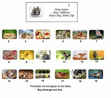 Personalized Return Address Cute Animals Labels Buy 3 get 1 free(ca2)