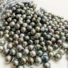 10 pcs Tahitian Loose Pearls Undrilled 9mm Circle Drop Baroque Light Medium Dark