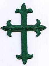 Fleur de lis Cross - Emerald Green Religious Iron on Applique/Embroidered Patch