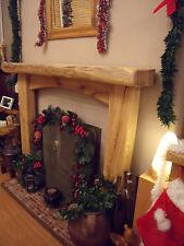 "6""/3"" SOLID OAK BEAM, Wooden, Rustic Fireplace Surround with Arched Cross Board"
