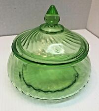 New ListingDepression green glass bowl with lid