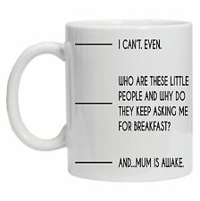 Funny Coffee mug. Fill to line 2, Mum Is Awake. Funny design Gift for Mum Mam