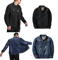 Mens Cotton Denim Jacket Long Sleeve Jeans Coat Casual Loose Outwear Tops M-7XL