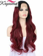 K'ryssma Sexy Deep Red Wavy Wig uk Long Ombre Burgundy Lace Front Wigs Women