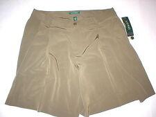 New Womens Office Dress Shorts 14 Olive Green Silky Ralph Lauren Work NWT Long