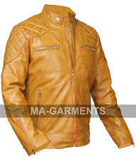 MEN'S David Beckham TAN WAXED REAL LEATHER JACKET VINTAGE SLIM FIT