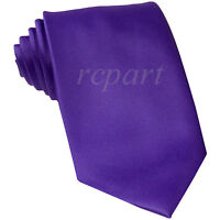 New formal men's neck tie only solid purple 100% polyester wedding prom party