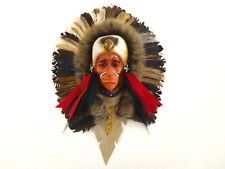 Native American Indian Head Wall Art Plaque Mask With Eagle Real Feathers.....