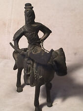 Antique Cast Metal Figure Asian Soldier Riding Horse With Weapon