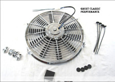 Ford Chevy Universal 14'' Straight Blade 12v Reversible Elect Fan 1900cfm Chrome