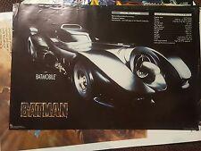 "Batman the Movie Batman & Batmobile Original Vintage 1989 Lot of Two 23"" x 35"""