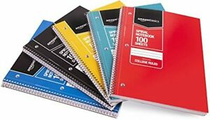 Amazon Basics College Ruled Wirebound Spiral Notebook, 100 Sheets - 5-Pack, Asso