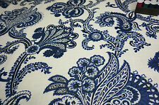 SOFT FURNISHING 100% Cotton Linen Fabric ORIENTAL BLUE FLORAL by HALF METRE #77
