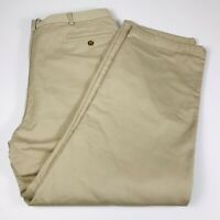 LL Bean Mens 40 x 30 Flannel Lined Khaki Pants Double L Natural Fit Beige Cotton